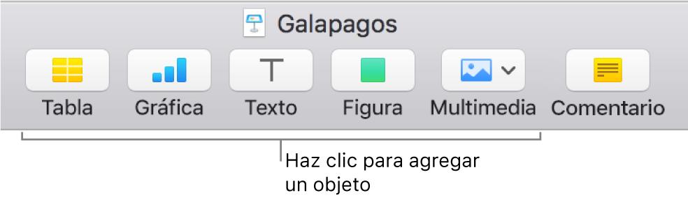 La barra de herramientas de Keynote con los botones que se usan para agregar un objeto a una diapositiva.
