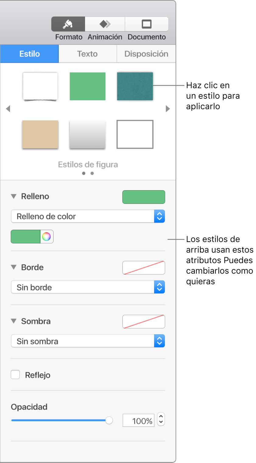 Estilos y opciones de figura en la sección Formato de la barra lateral.