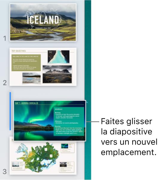 Navigateur de diapositives affichant une vignette de diapositive déplacée avec une ligne à gauche.