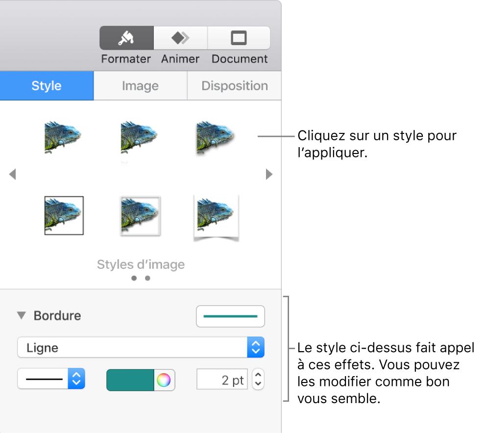 L'onglet Style de la barre latérale Format, présentant les options de style d'objet.