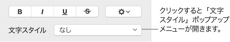 「文字スタイル」ポップアップメニュー。上にはテキストスタイルや色を変更するためのコントロールがあります。