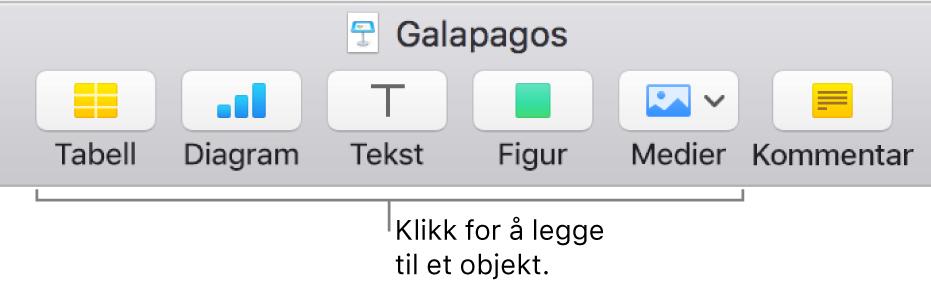 Keynote-verktøylinjen, som viser knapper som brukes for å legge til et objekt i et lysbilde.