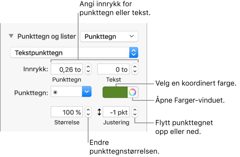 Punkttegn og lister-delen, med forklaringer på kontroller for punkt- og tekstinnrykk, punktfarge, punktstørrelse og justering.
