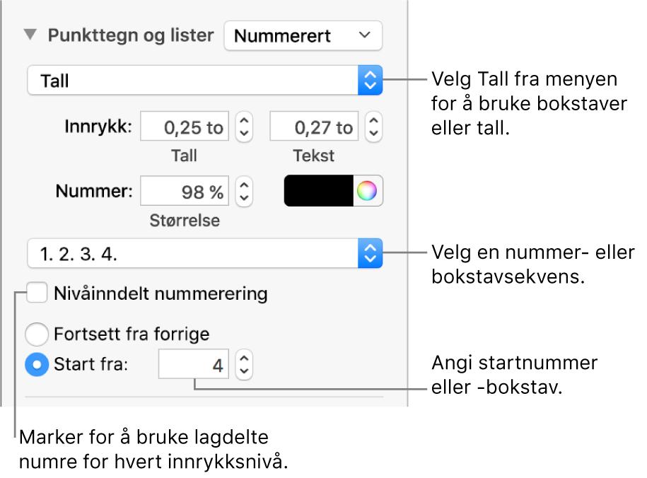 Kontrollene for å endre nummereringsstilen og avstanden for en liste.