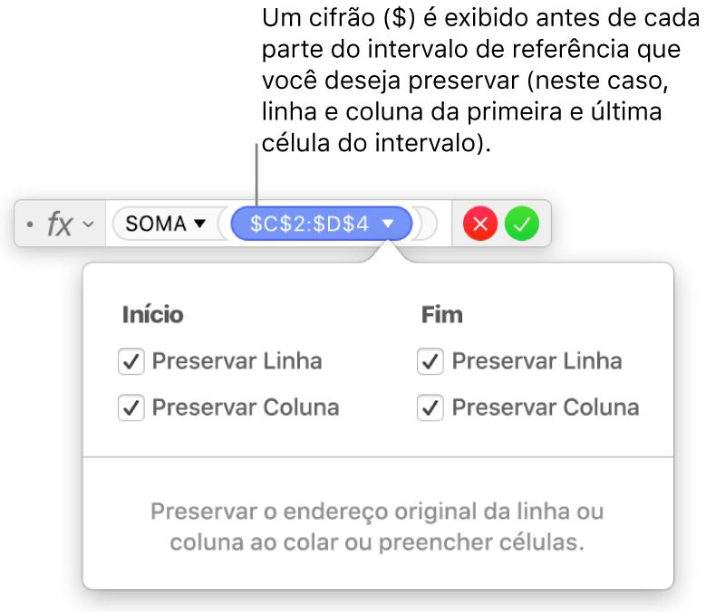 Fórmula exibindo referências de linha e coluna preservadas.