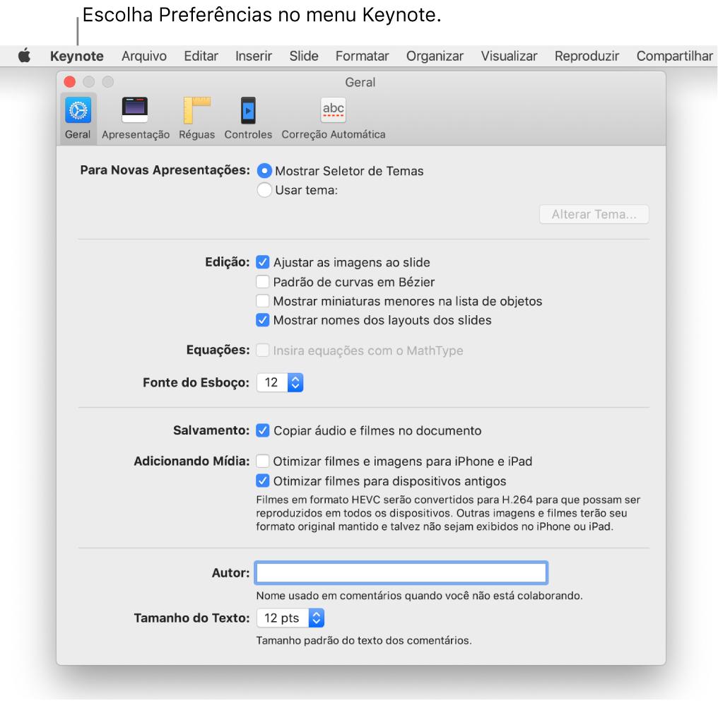 Janela de preferências do Keynote aberta no painel Geral.