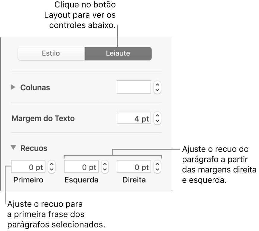 Seção Layout da barra lateral Formatar mostrando controles para ajuste do recuo da primeira linha e das margens do parágrafo.