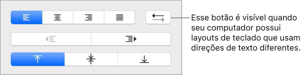 Botão Direção do Parágrafo nos controles de alinhamento de texto.