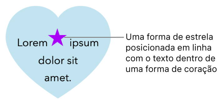 Uma forma de estrela aparece alinhada ao texto dentro de uma forma de coração.