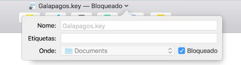 Menu local para bloquear e desbloquear uma apresentação.