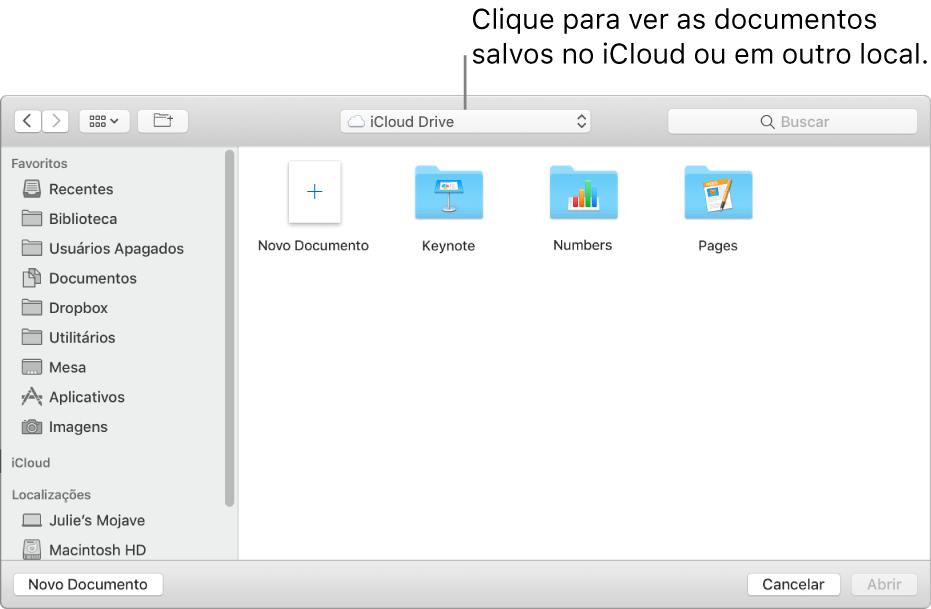 Caixa de diálogo Abrir com a barra lateral aberta à esquerda e iCloud Drive selecionado no menu local na parte superior. As pastas do Keynote, Numbers e Pages são mostradas na caixa de diálogo, além do botão Novo Documento.