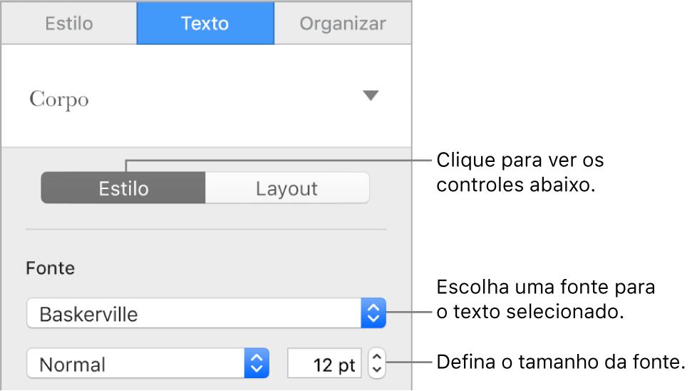 Controles de texto na seção Estilo da barra lateral para ajustar a fonte e o tamanho da fonte.