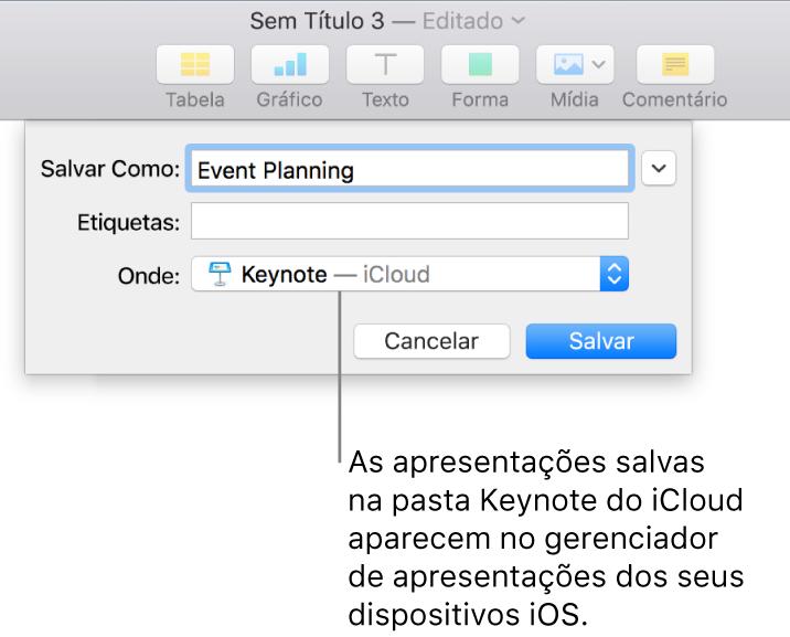 Diálogo Salvar de uma apresentação do Keynote — iCloud no menu local Onde.