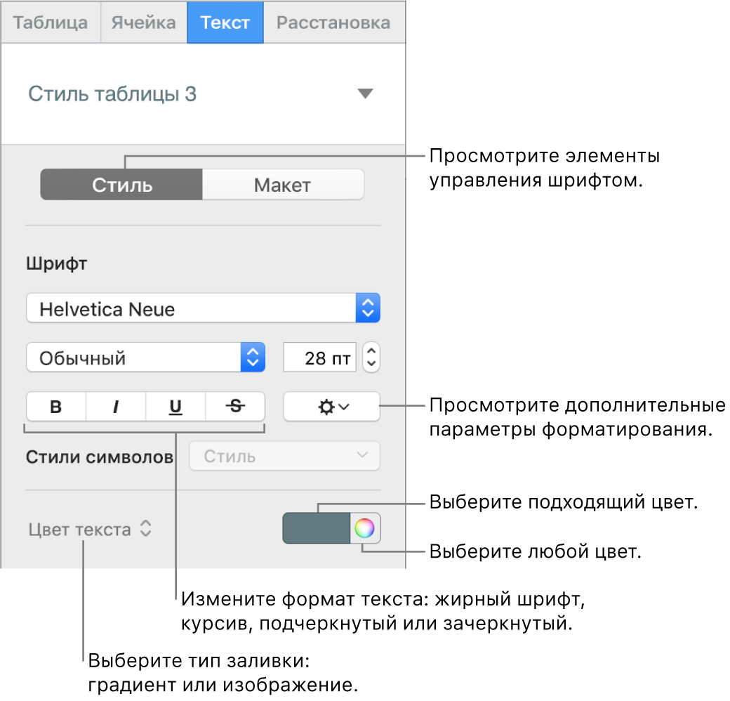 Элементы управления стилем текста в таблице.