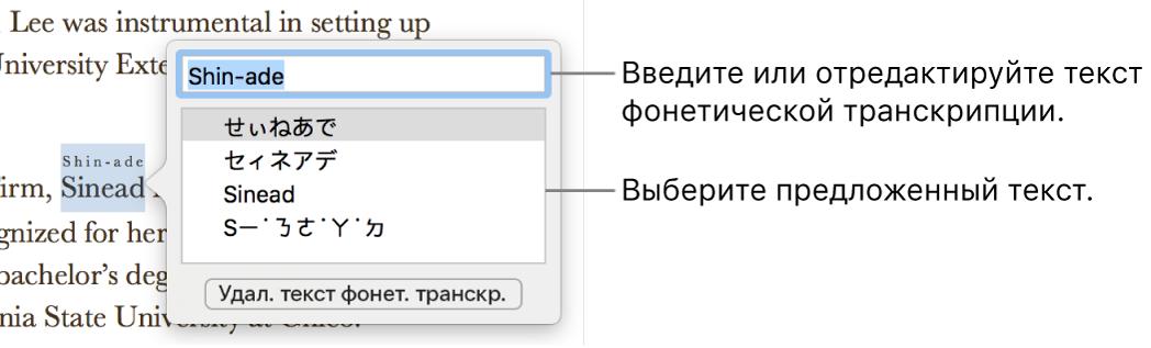 Отображается фонетическая транскрипция слова с вынесенным текстовым полем, содержащим предложенный вариант текста.