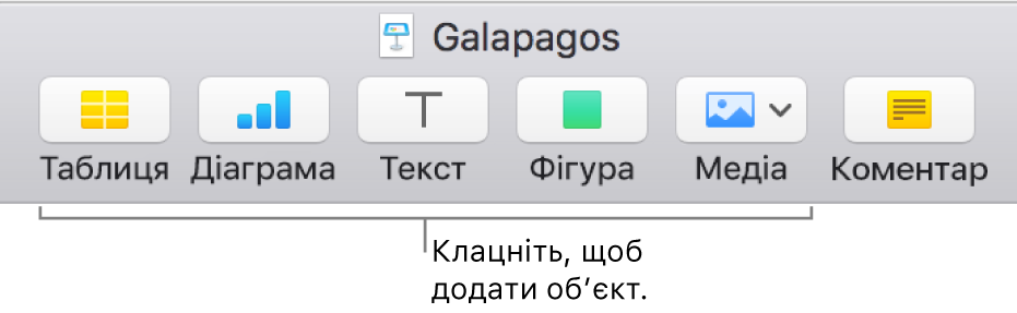 Панель інструментів Keynote із кнопками, за допомогою яких на слайд можна додати об'єкт.