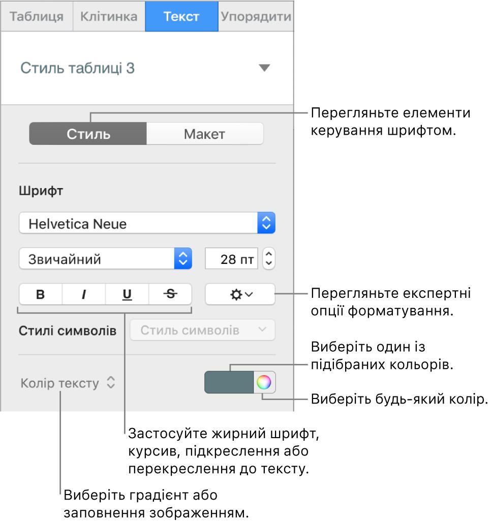 Елементи керування стилем тексту таблиці.
