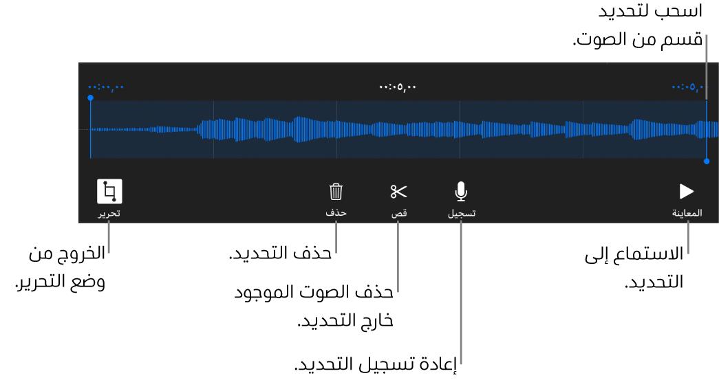 أدوات التحكم لتحرير الملف الصوتي المسجَّل. يوضح المؤشران القسم المحدد من التسجيل، وتوجد بالأسفل أزرار معاينة وتسجيل وقص وحذف ووضع التحرير.
