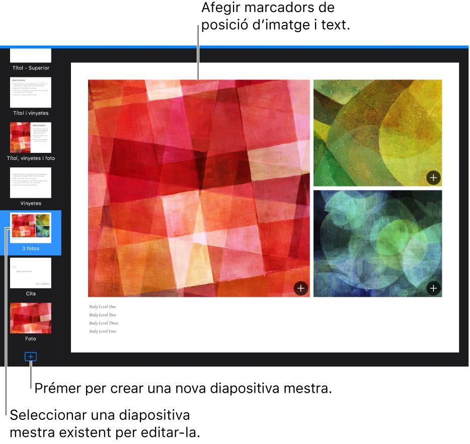 """Una diapositiva mestra mostrada al llenç de la diapositiva, amb el botó """"Afegir diapositiva mestra"""" a la part inferior del navegador de diapositives."""