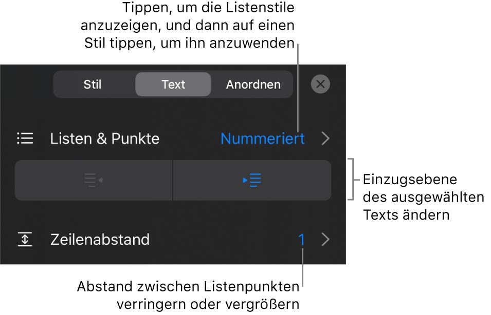 """Der Abschnitt """"Listen& Punkte"""" und die Formatsteuerungen mit Beschreibungen für """"Listen& Punkte"""", den Tasten """"Einrücken"""" oder """"Ausrücken"""" und Steuerelemente für den Zeilenabstand"""