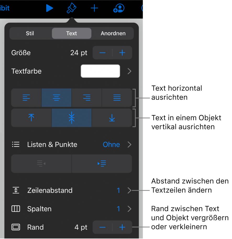 """Der Bereich """"Layout"""" mit Beschreibungen der Ausrichtungstasten und zu den Abstandstasten für Text"""