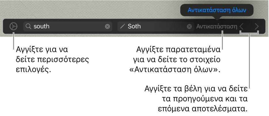 Χειριστήρια για εύρεση και αντικατάσταση κειμένου.