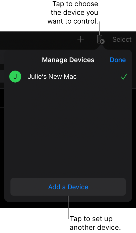The Manage Devices pop-over, showing the Add a Device link.
