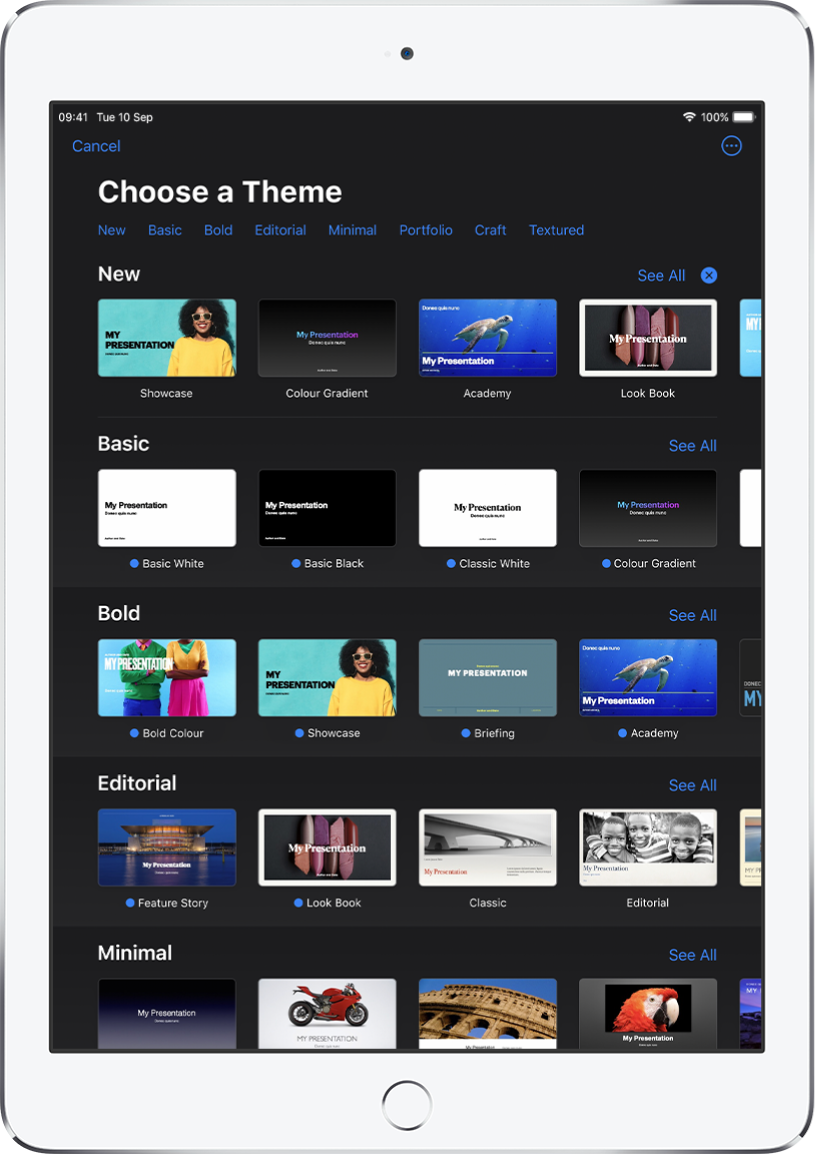 The theme chooser, showing a row of categories across the top that you can tap to filter the options. The More button is in the top-right corner, where you can set Standard or Wide format and set formatting for a specific language or region. Below are thumbnails of predesigned themes arranged in rows by category. A See All button appears above and to the right of each category row.