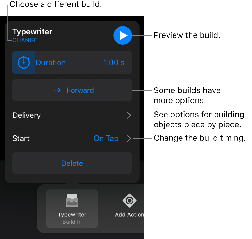Build options include Duration, Delivery, and Start timing. Tap Change to choose a different build, or tap Preview to preview the build.