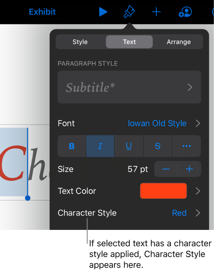 The Text formatting controls with Character Style below the Color controls. The character style None appears with an asterisk.