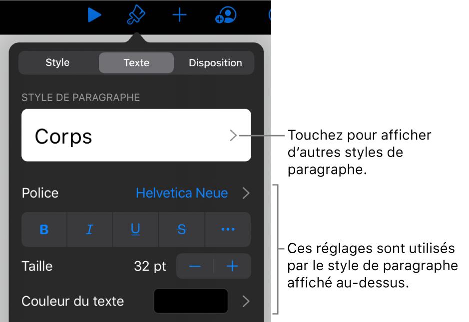 MenuFormat avec commandes de texte permettant de définir les styles, la police, la taille et la couleur des paragraphes et des caractères.