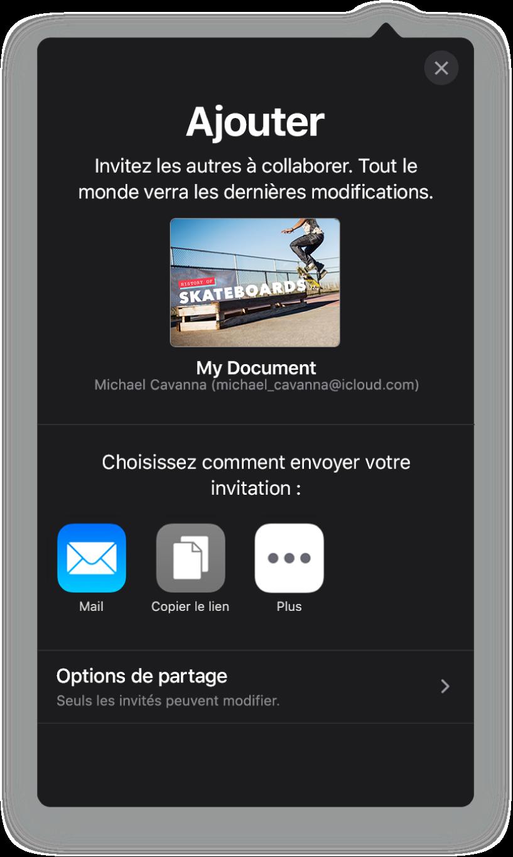 L'écran Ajouter affichant une image de la présentation à partager. Sous celle-ci se trouvent des boutons pour les différentes manières d'envoyer l'invitation, notamment Mail, «Copier le lien» et Plus. Le bouton «Options de partage» se trouve en bas.