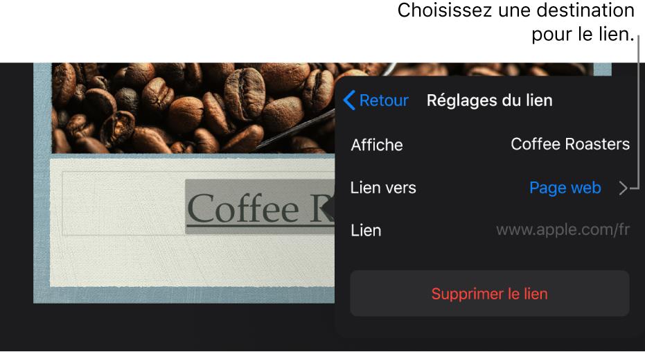 La fenêtre surgissante «Réglages du lien» avec les champs Afficher, Lien vers («Page web» est sélectionné) et Lien. Le bouton «Supprimer le lien» se trouve en bas.