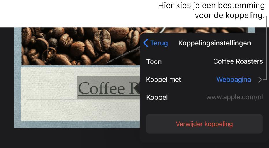 Het vensterpaneel 'Linkinstellingen' met velden voor 'Toon', 'Koppel met' ('Webpagina' is geselecteerd) en 'Link'. Onderaan staat de knop 'Verwijder link'.