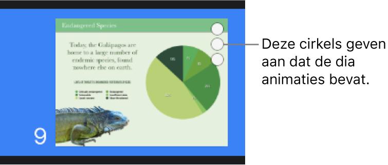 Een dia met drie cirkels in de rechterbovenhoek om aan te geven dat de dia animaties bevat.