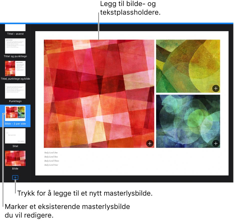 Et masterlysbilde vises på lysbildelerretet, med Legg til lysbilde-knappen nederst i lysbildenavigereren.