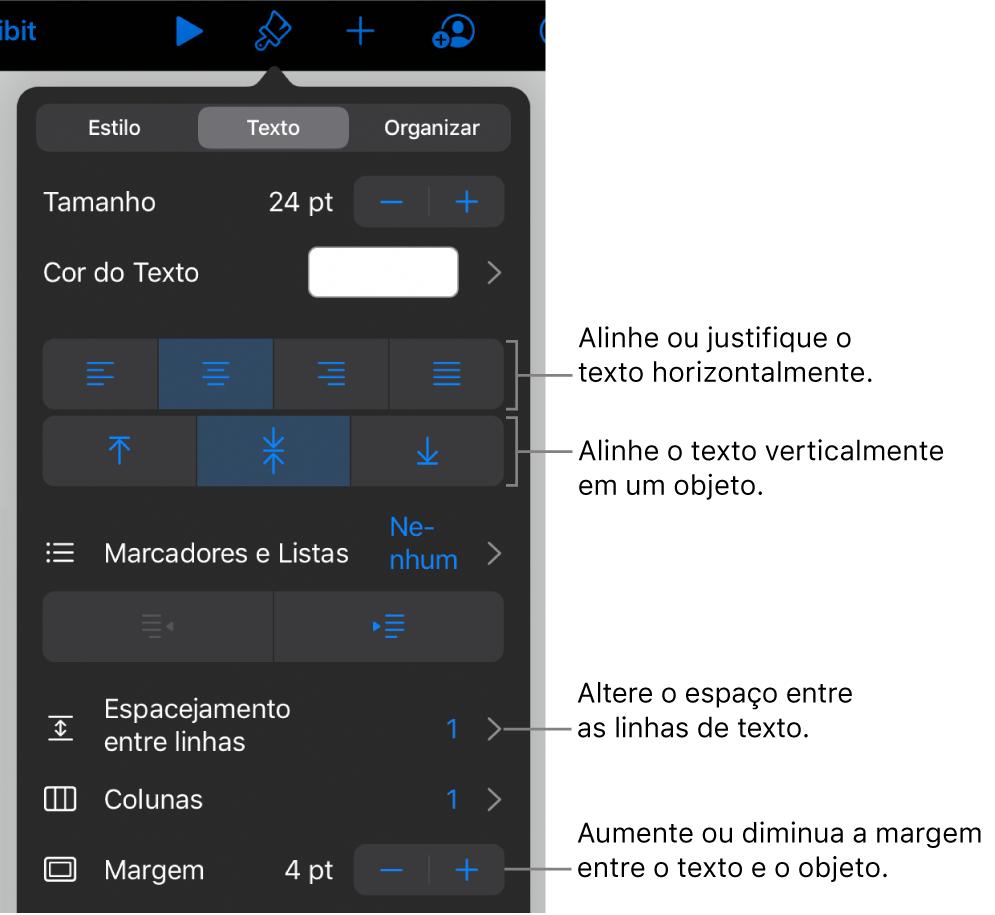 Painel Layout, com chamadas para os botões de alinhamento e espaçamento de texto.