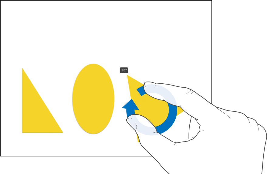 Dois dedos girando um objeto.