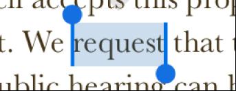 Greppunkterna på endera sidan av ett markerat ord.