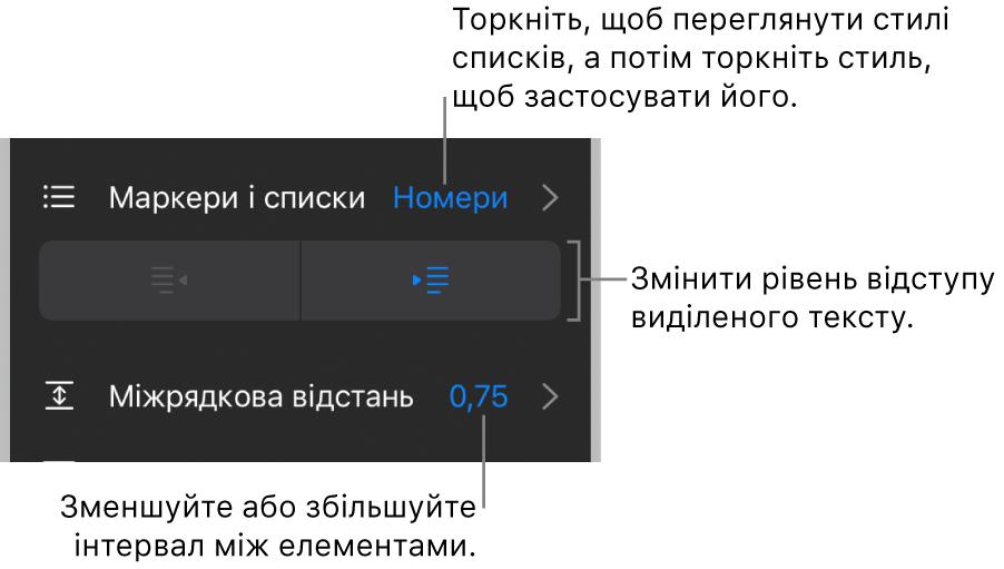 Розділ «Маркери і списки» елементів керування «Формат» з виносками на «Маркери і списки», кнопки виступів і відступів та елементи керування інтервалами.