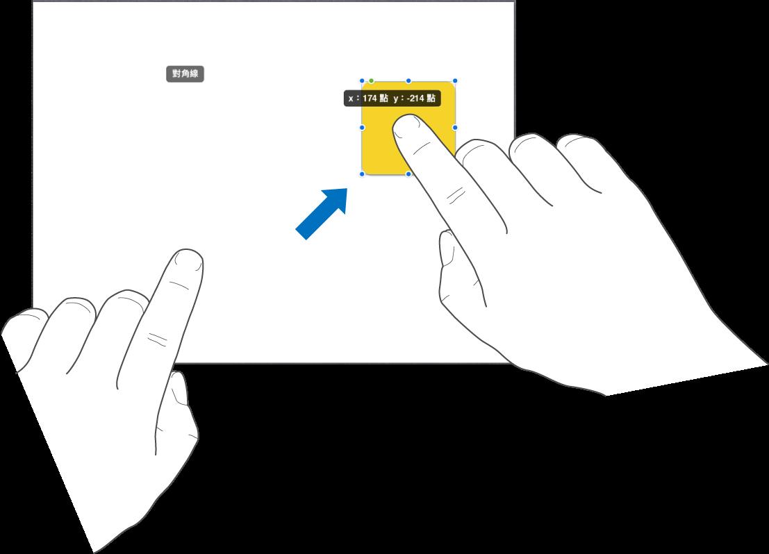 單指選擇物件而另一根手指向螢幕頂端滑動。