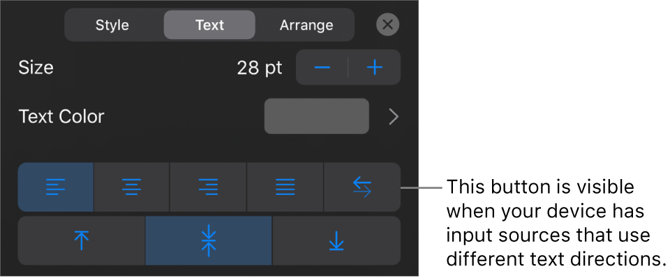 Text controls in the Format menu, with a callout to the Right to Left button.