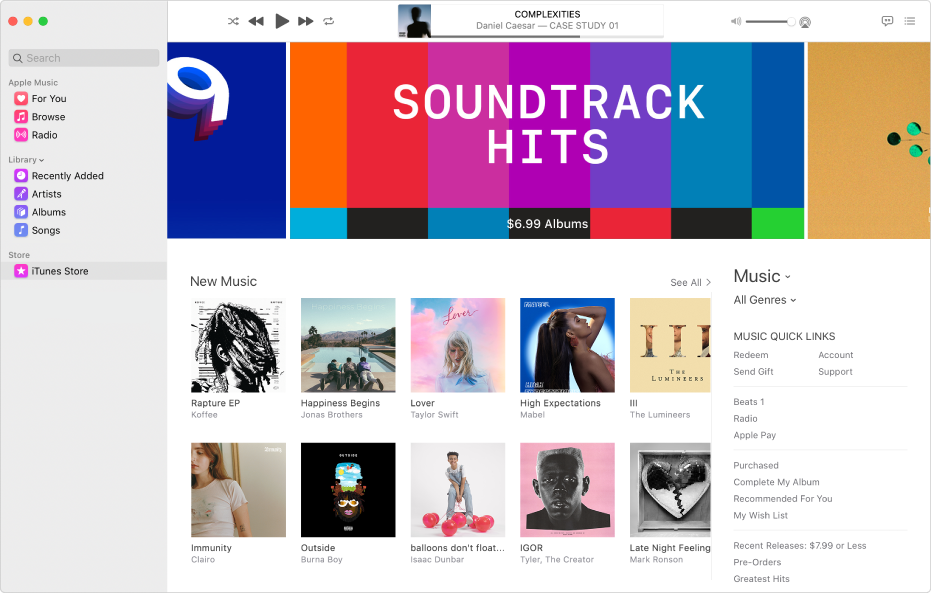 The iTunes Store main window: In the sidebar, iTunes Store is highlighted.