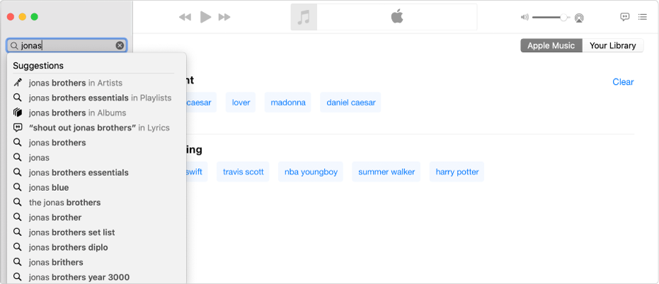 "The Music screen showing Apple Music selected in the top-right corner, and ""Jonas"" entered in the search field in the top-left corner. Suggested Apple Music results for ""Jonas"" are displayed in the list below the search field."
