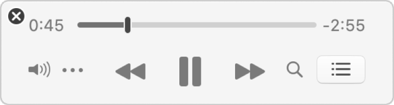 The smaller Music MiniPlayer, showing only the controls (and not the album artwork).