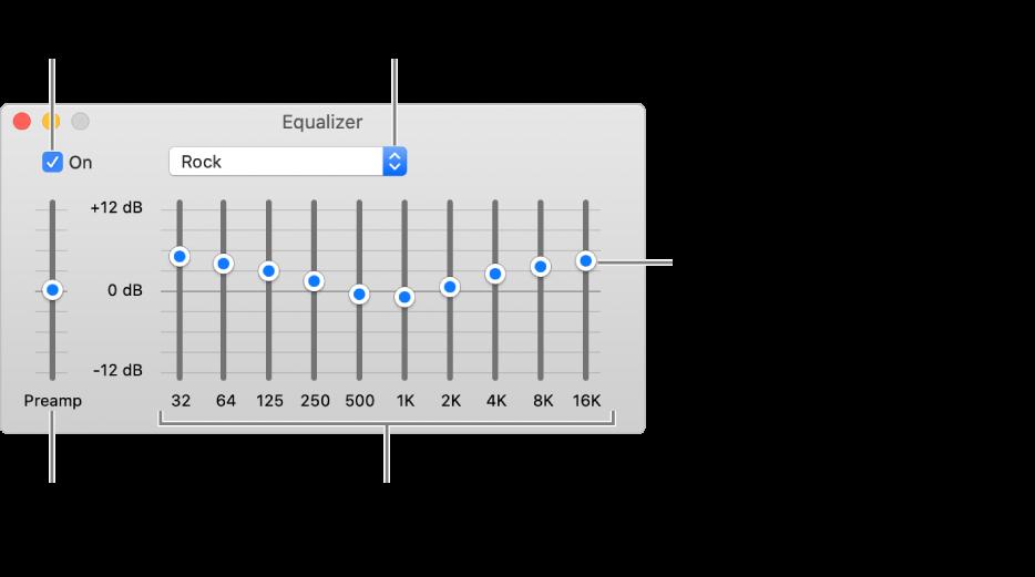 Het venster 'Equalizer': Het aankruisvak waarmee je de Muziek-equalizer inschakelt, bevindt zich linksbovenin. Ernaast zie je het venstermenu met de voorinstellingen van de equalizer. Helemaal links pas je het algemene volume van frequenties aan met de voorversterker. Onder de voorinstellingen van de equalizer pas je het geluidsniveau per frequentiebereik aan. Elk bereik vertegenwoordigt een bepaald gedeelte van het menselijk gehoor, van laag naar hoog.