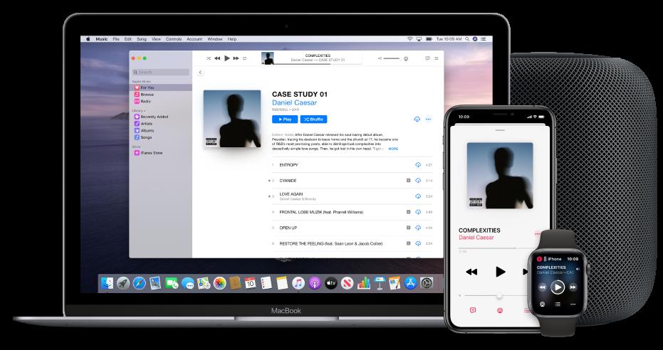 Er wordt een nummer afgespeeld op een Mac, iPhone en AppleWatch, met een HomePod.