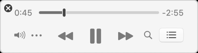 De kleinere Muziek-minispeler met alleen de regelaars (en geen albumillustratie).