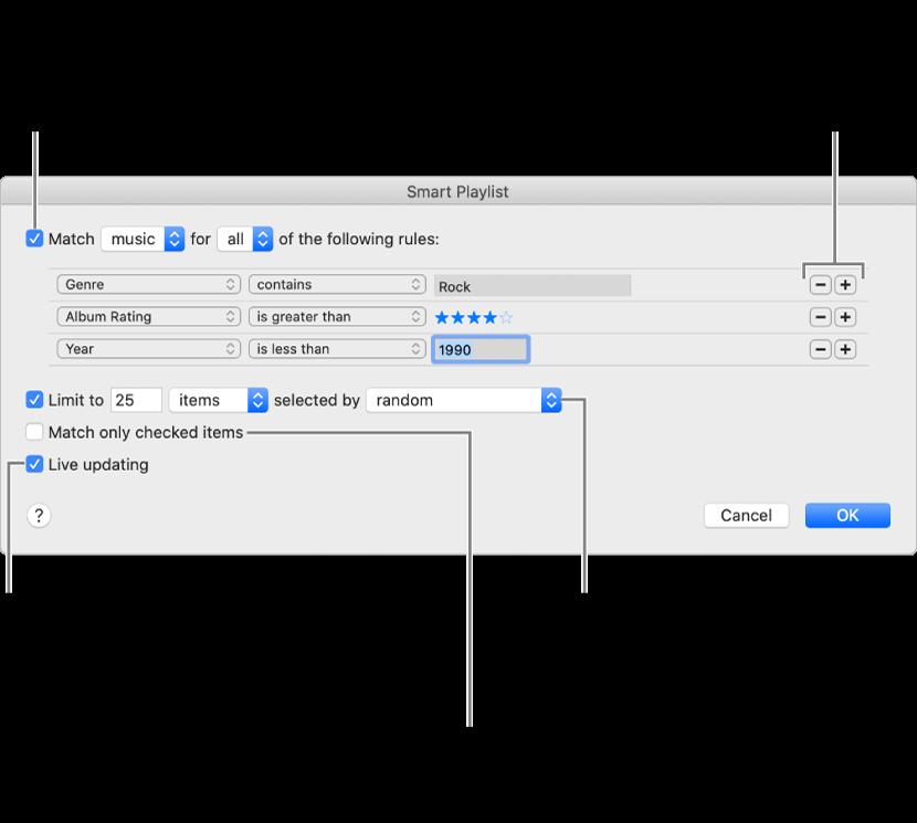 Het venster 'Slimme afspeellijst': Selecteer 'Voldoe aan' linksbovenin en geef vervolgens op aan welke criteria de afspeellijst moet voldoen (bijvoorbeeld genre of beoordeling). Met de knop met het plusteken en de knop met het minteken rechtsbovenin kun je regels toevoegen of verwijderen. Onder in het venster kun je verschillende opties instellen, waaronder de grootte en lengte van de afspeellijst, of je alleen nummers met een ingeschakeld aankruisvak wilt toevoegen en of je de afspeellijst wilt laten bijwerken als onderdelen in je bibliotheek worden gewijzigd.
