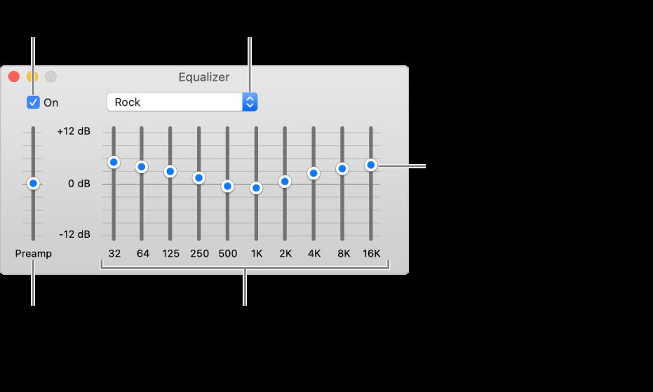 Ekolayzer penceresi: Müzik  ekolayzerini etkinleştirmeyi sağlayan onay işareti sol üst köşede bulunur. Bunun yanında ekolayzer ön ayarlarını içeren açılır menü yer alır. En sol tarafta, ön amfili frekansların genel ses yüksekliğini ayarlayın. Ekolayzer ön ayarlarının alt tarafında, en düşükten en yükseğe insan kulağının duyabileceği spektrumu temsil eden farklı frekans aralıklarının ses düzeyini ayarlayın.